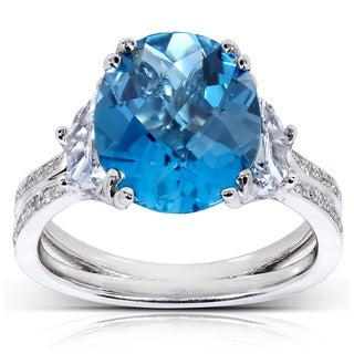 Annello by Kobelli 14k White Gold London Blue Topaz and 7/8ct TDW Diamond Ring (G-H, VS1-