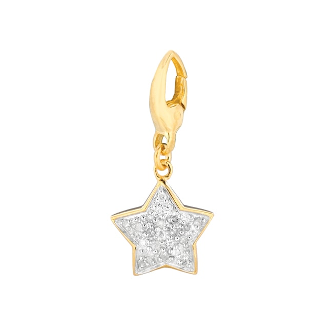Gold over Silver 1/10ct TDW Diamond Star Charm (H-I, I1-I2)