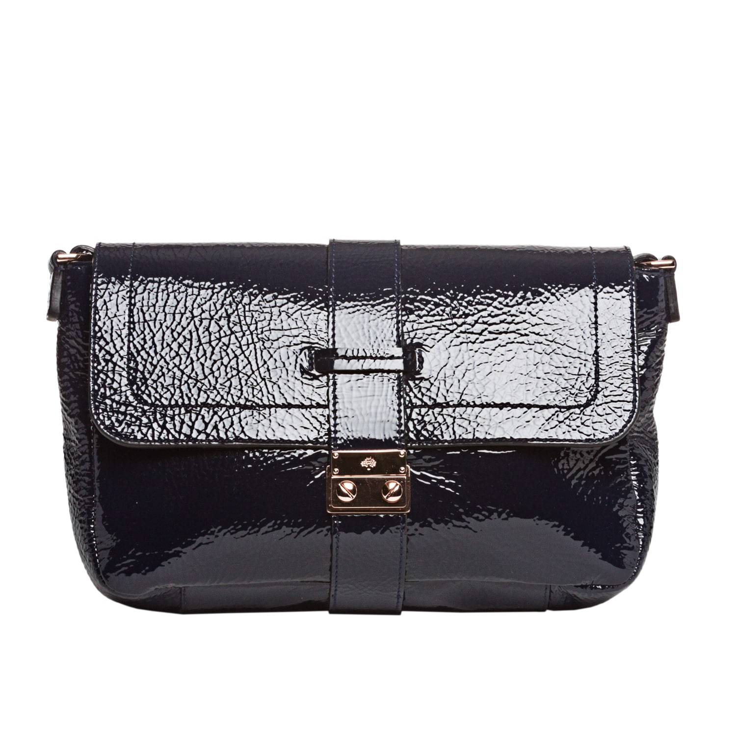 Mulberry Navy Patent Leather Shoulder Handbag - Thumbnail 0