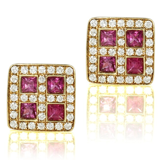 Annello by Kobelli 18k Yellow Gold Ruby and 1/4ct TDW Diamond Earrings (H-I, VS1-VS2)