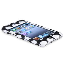 Black with White Dot Snap-on Case for Apple iPod Touch Generation 4