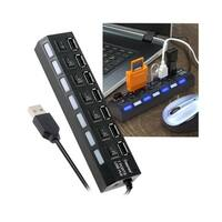INSTEN Black 7-port USB Hub with On/ Off Switch and Built-in Cable Cord