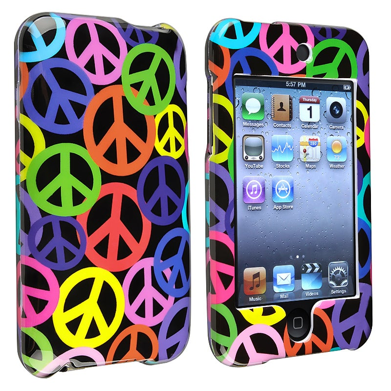 INSTEN Black Rainbow Peace Sign iPod Case Cover for Apple iPod Touch Generation 2/ 3 - Thumbnail 0