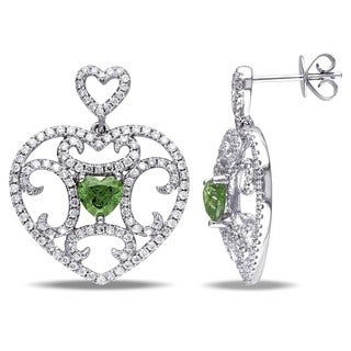 Miadora Signature Collection 14k Gold 2 1/4ct TDW Green and White Diamond Heart Earrings