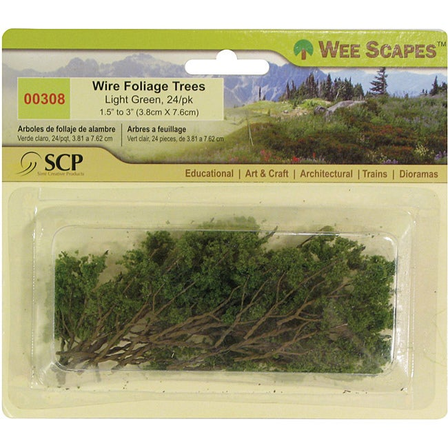 SCP Light Green Wire Foliage Trees (Pack of 24) (Light Gr...