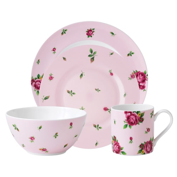 Royal Albert 'New Country Rose' Pink Modern Casual 16-piece Dinnerware Set