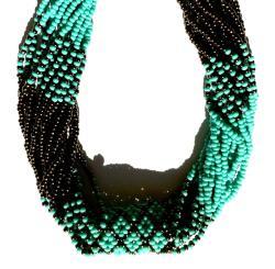 Glass Bead Geometric Long Necklace Turquoise (Guatemala) - Thumbnail 1
