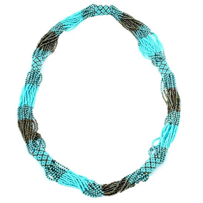 Glass Bead Geometric Long Necklace Turquoise (Guatemala)