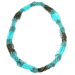 Glass Bead Geometric Long Necklace Turquoise (Guatemala)
