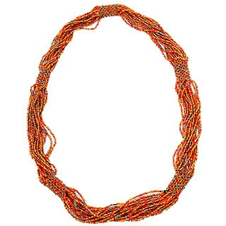 Handmade Glass Bead Geometric Long Necklace Autumn (Guatemala)