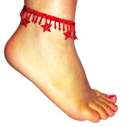 Red Glass Bead Stars Anklet (Guatemala)