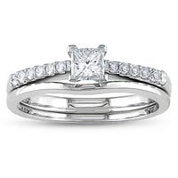 Miadora 14k White 1/2ct TDW Diamond Bridal Ring Set