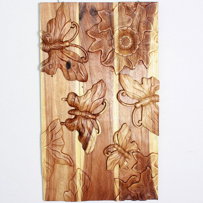Monkey Pod Wood Butterfly Wall Panel (Thailand)