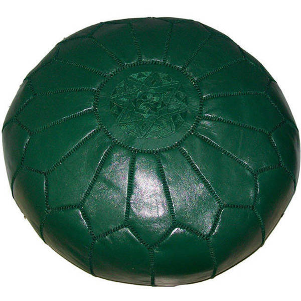 Handmade Moroccan Contemporary Leather Ottoman Pouf Green (Morocco)