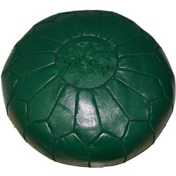 Moroccan Contemporary Leather Ottoman Green (Morocco)