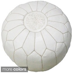 Handmade Moroccan Contemporary Leather Ottoman Pouf (Morocco)