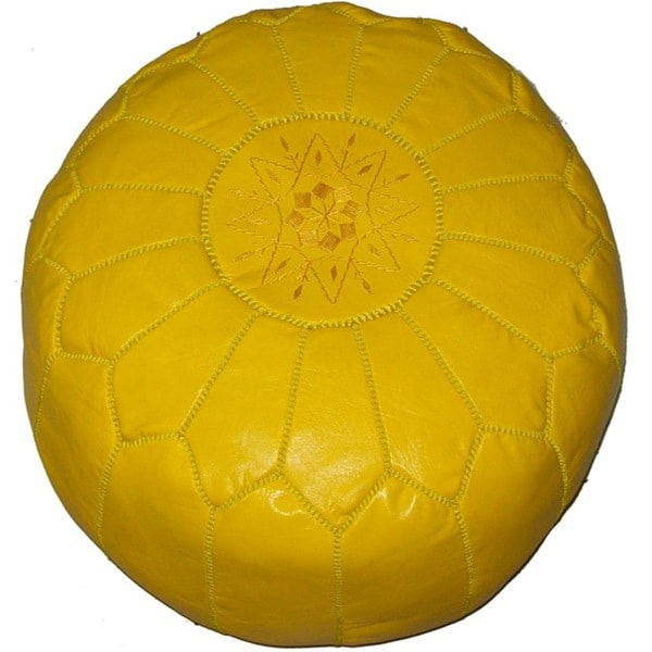 Handmade Moroccan Yellow Contemporary Leather Ottoman Pouf (Morocco)