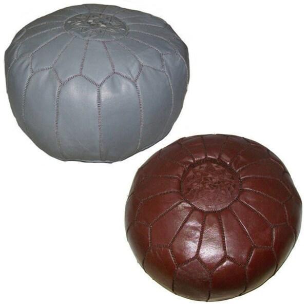 Handmade Moroccan Chocolate Brown Contemporary Leather Ottoman Pouf (Morocco)