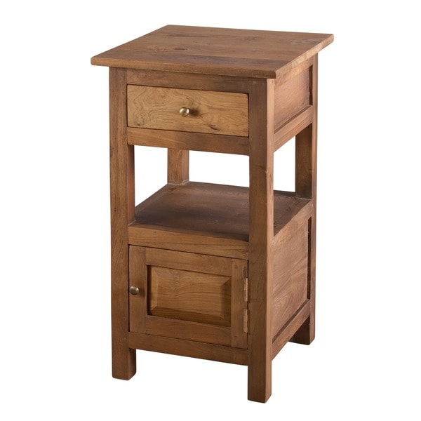 Single Door, Single Drawer Reclaimed Teak Nightstand