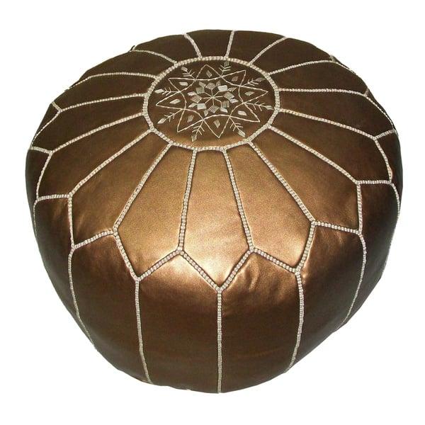 Moroccan Ottoman Pouf Pouffe Footstool Bronze-Gold