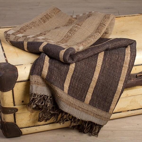 Sand Stripe Silk-and-Wool Fashionable Throw (India)
