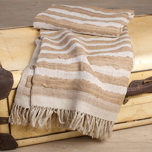 Sand Stripe Silk-and-Wool Fringed Throw (India)