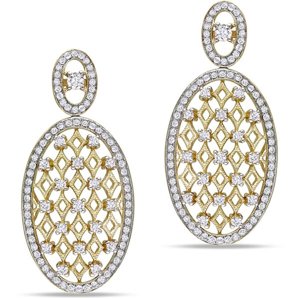 Miadora Signature Collection 14k Yellow Gold 1 1/2ct TDW Diamond Two Tone Earrings (G-H, SI1-SI2)