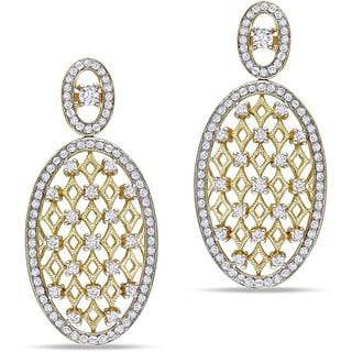 Miadora Signature Collection 14k Yellow Gold 1 1/2ct TDW Diamond Two Tone Earrings