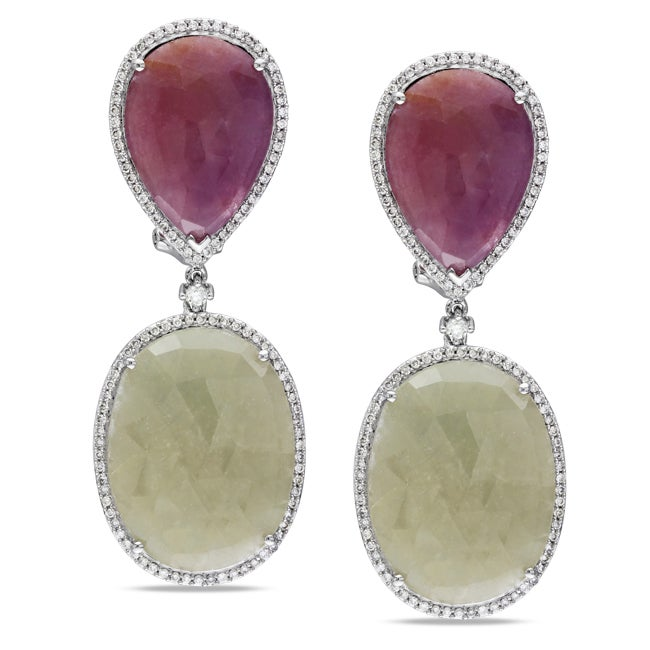 Miadora Signature Collection 14k White Gold Sapphire and 1ct TDW Diamond Earrings (G-H, SI1-SI2)