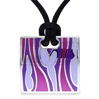 Miadora Stainless Steel Pink and Purple Epoxy 20-inch Fashion Necklace