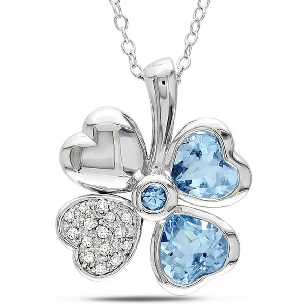 Miadora Sterling Silver 2ct TGW Blue Topaz and Diamond Accent Flower Necklace