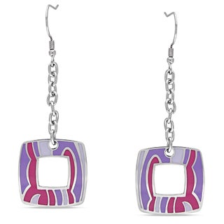 Miadora Stainless Steel Colored Epoxy Dangle Earrings