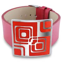 Miadora Stainless Steel Red Epoxy and Red Leather 7-inch Bracelet