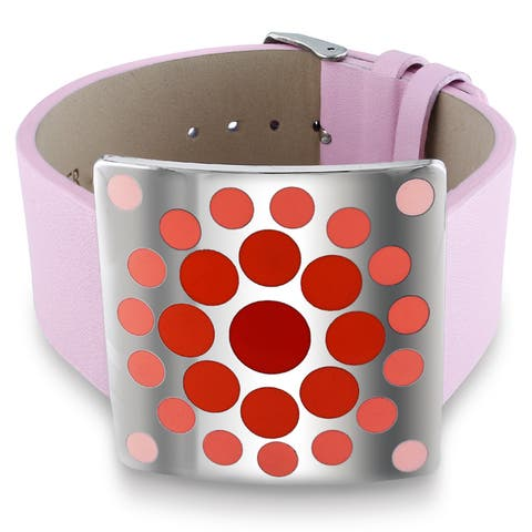 Miadora Stainless Steel Red Epoxy and Pink Leather 7-inch Bracelet