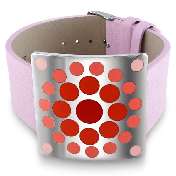 Miadora Stainless Steel Red Epoxy and Pink Leather 7-inch Bracelet. Opens flyout.