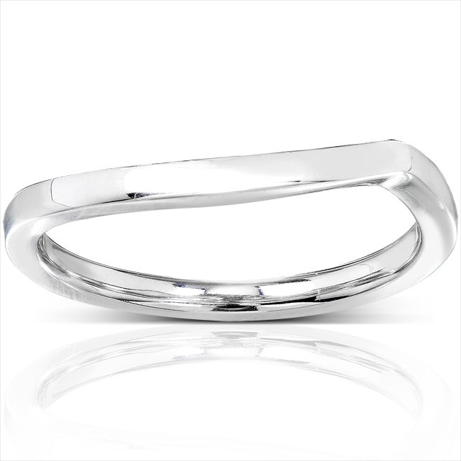 Annello by Kobelli 14k White Gold Contoured Wedding Band