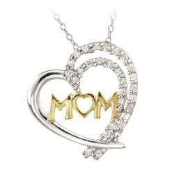 Icz Stonez Two-tone Silver Cubic Zirconia 'Mom' Heart Necklace