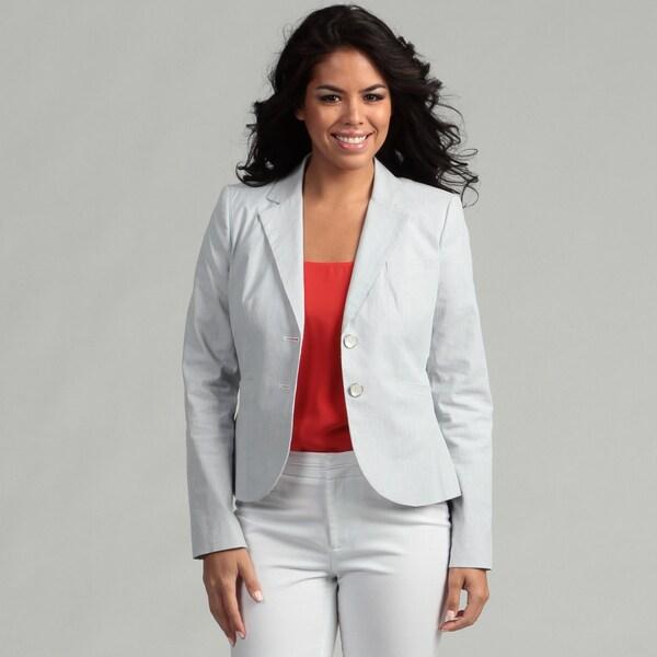 Calvin Klein Women's Grey/ White Striped Jacket