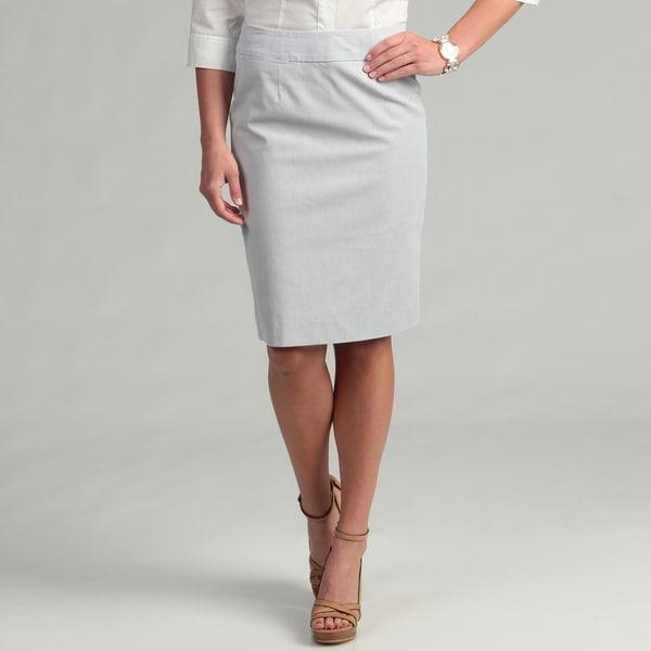Calvin Klein Women's Grey/ White Striped Skirt