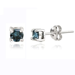 DB Designs Sterling Silver 1/2ct TDW Blue Diamond Stud Earrings