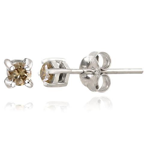 DB Designs Sterling Silver 1/4ct TDW Champagne Diamond Stud Earrings
