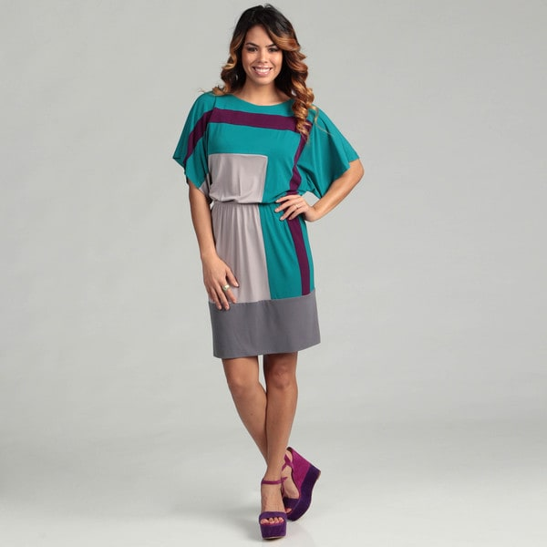Suzi Chin Colorblock Dolman Sleeve Cinched Dress