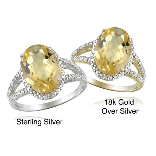 Glitzy Rocks Silver Oval-cut Citrine and Diamond Accent Ring (4ct TGW)
