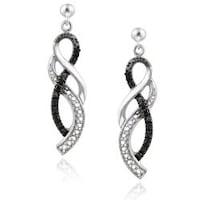 Db Designs Sterling Silver Black Diamond Accent Twist Dangle Earrings