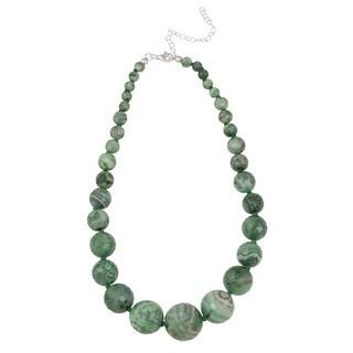 Glitzy Rocks Sterling Silver Crazy Lace Agate Graduated Necklace