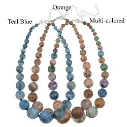 Glitzy Rocks Silver Multi-colored Crazy Lace Agate Graduated Necklace