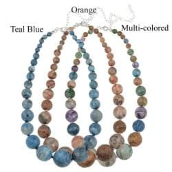 Glitzy Rocks Silver Multi-colored Crazy Lace Agate Journey Necklace