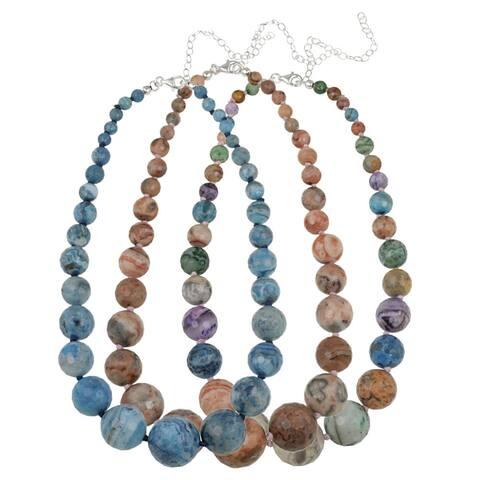 Glitzy Rocks Silver Multi-colored Crazy Lace Agate Graduated Necklace