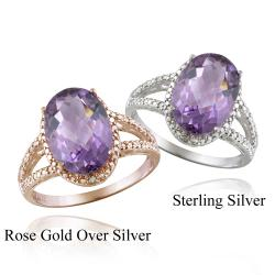 Glitzy Rocks Silver Oval-cut Amethyst and Diamond Accent Ring (4ct TGW)