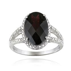 Glitzy Rocks Silver Oval Garnet and Diamond Accent Ring (5.5ct TGW) - Thumbnail 0